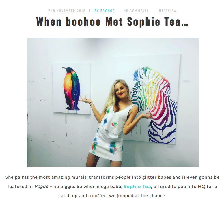 Boohoo     When Boohoo Met Sophie Tea   November 2016