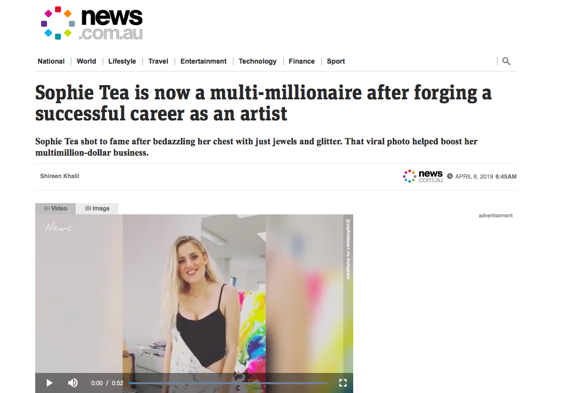 News.com.au     'Sophie Tea is now a multi-millionaire after forging a successful career as an artist'   April 2019