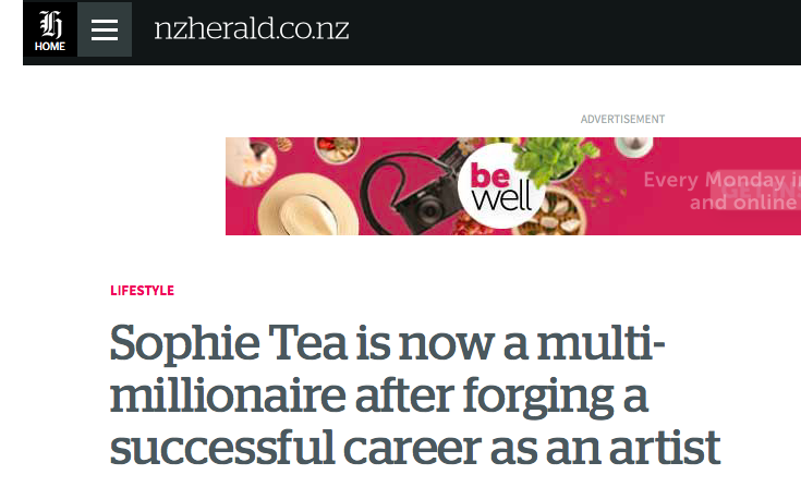 New Zealand Herald     Sophie Tea is now a multi-millionaire after forging a successful career as an artist   April 2019