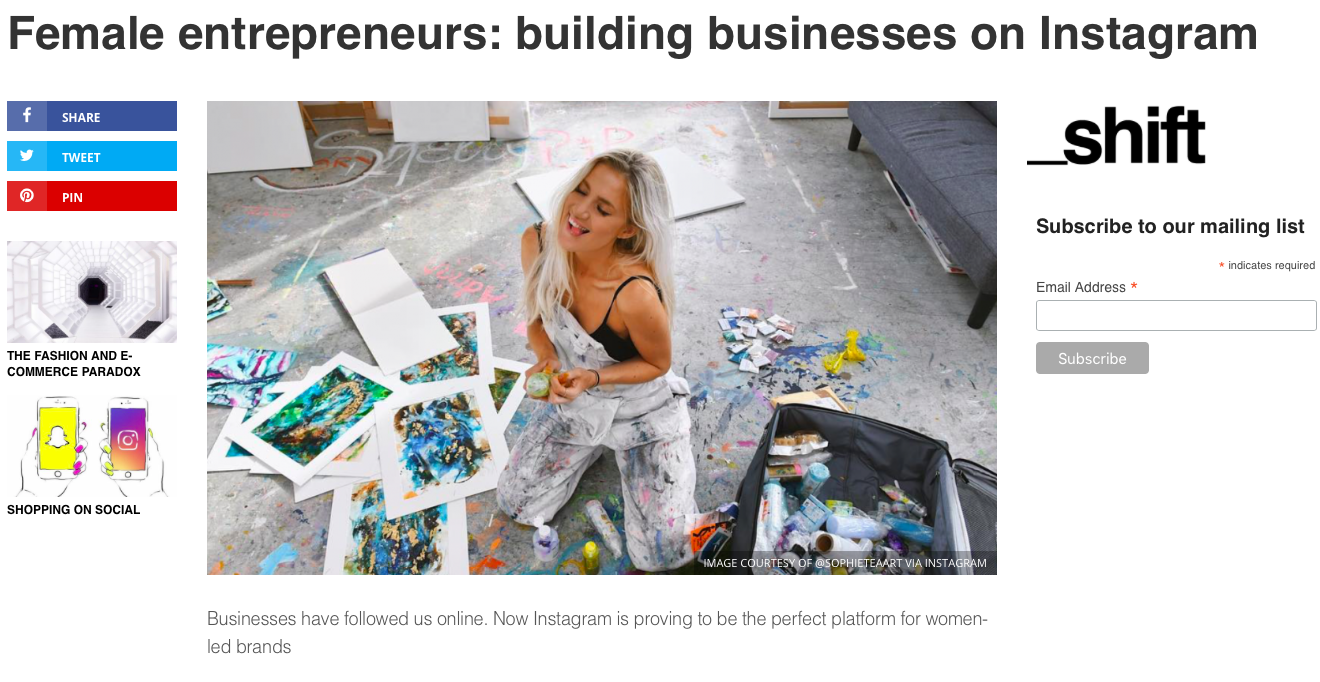 Shift London     'Female entrepreneurs: building businesses on Instagram'   October 2018
