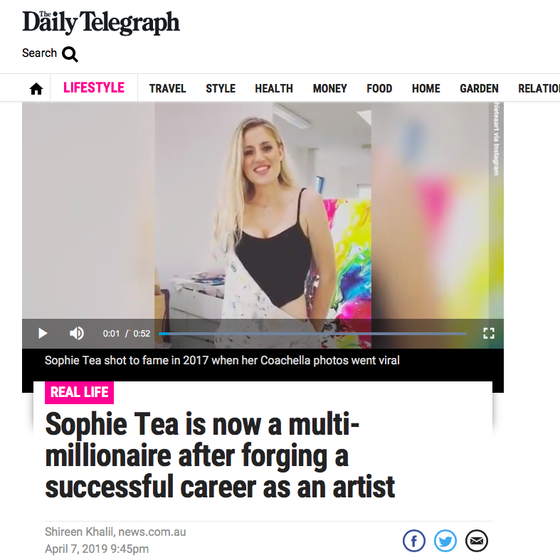 The Daily Telegraph     'Sophie Tea is now a multi-millionaire after forging a successful career as an artist'   April 2019