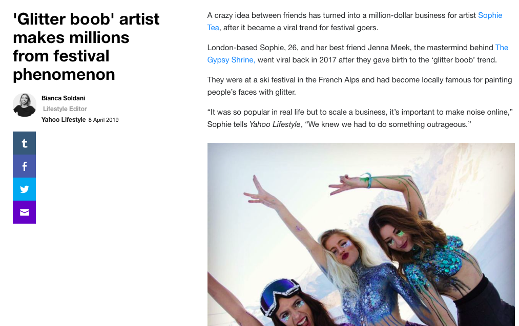 Yahoo     ''Glitter boob' artist makes millions from festival phenomenon'   April 2019