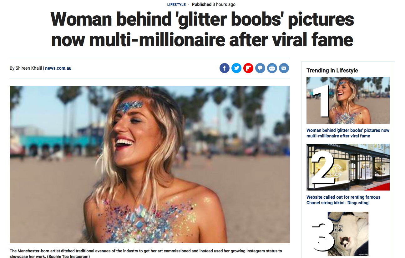 Fox News     'Woman behind 'glitter boobs' pictures now multi-millionaire after viral fame'   April 2019