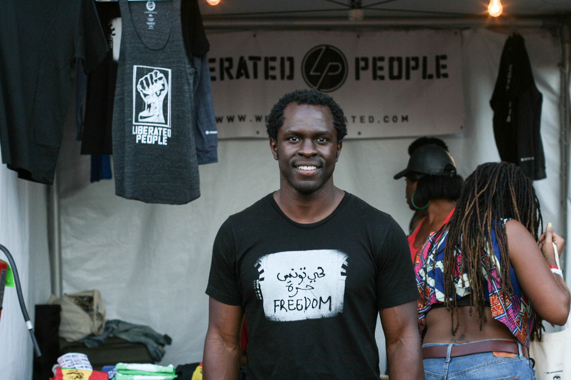 @gbengaakinnagbe at his @liberatedpeole / @enitan_vintage stand at #afropunkfest .