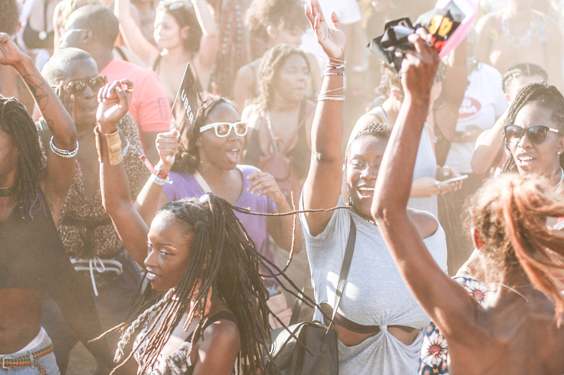 The dancing crowd at the golden stage during @djmoma set at #afropunkfest .