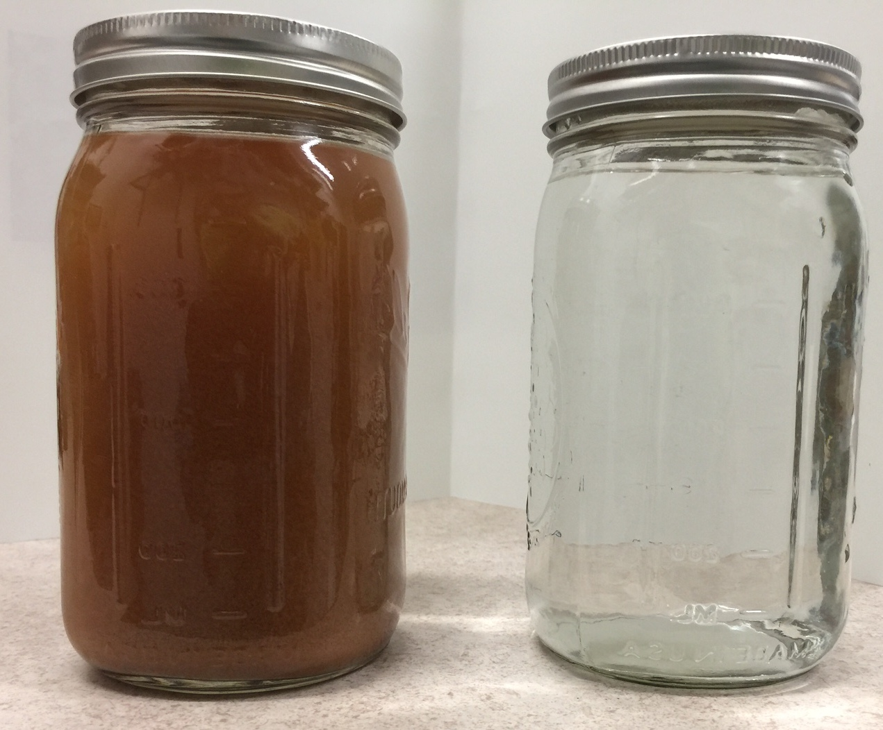Wastewater before and after running through New Water Tech's VSEP pilot system
