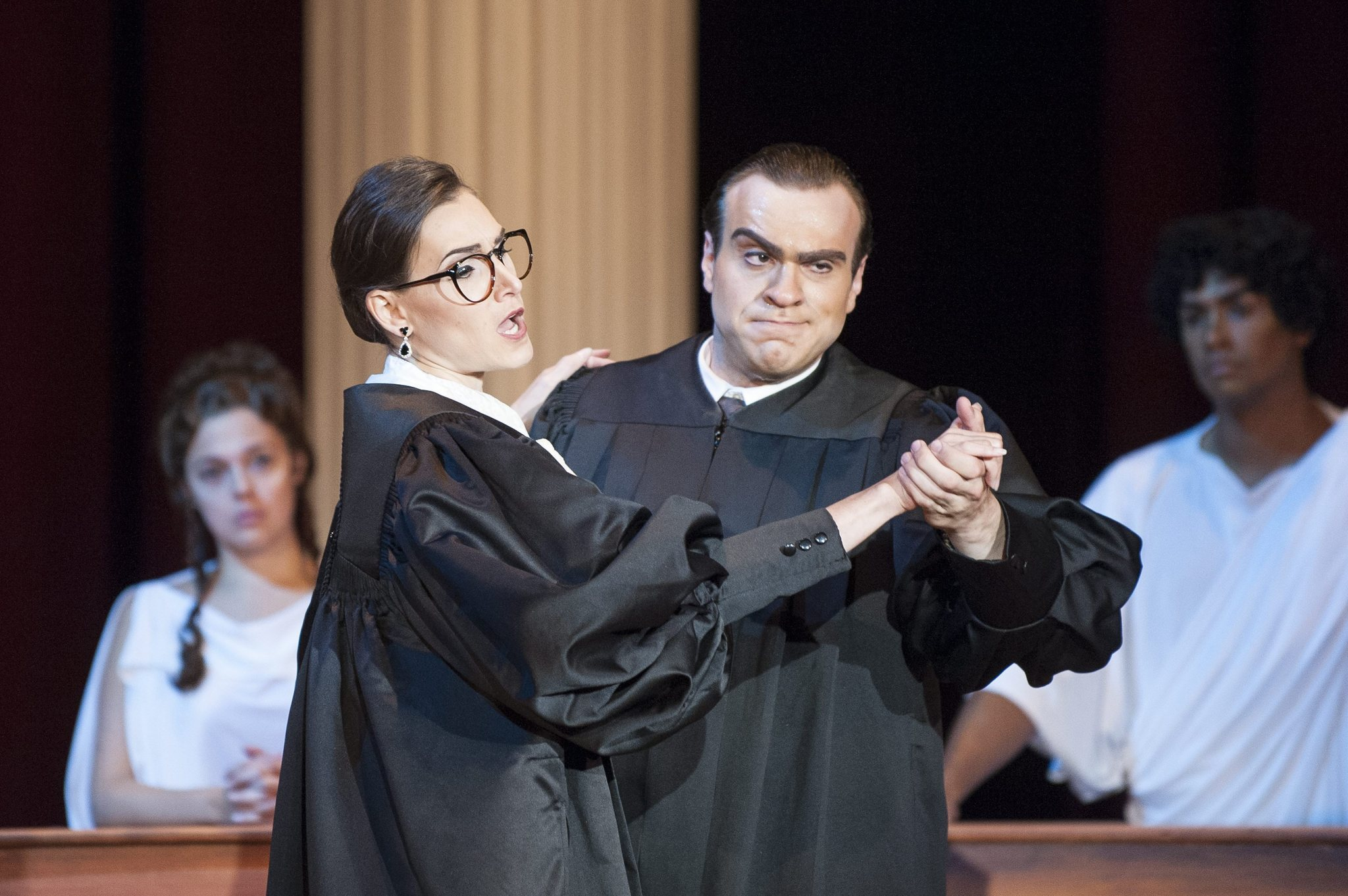 This is your reminder that there is an opera about Scalia and Ginsburg. This is a still from said opera. We live in the best of all possible worlds.