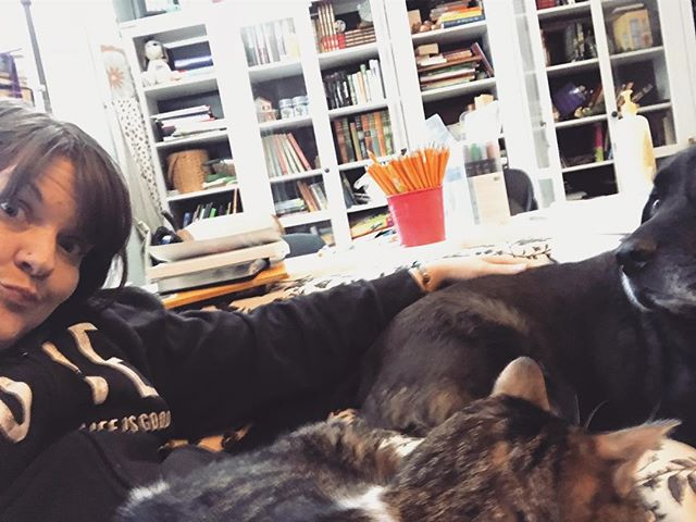 that moment when you're planning to sit down for just a moment and your furbabies are just sure you invited them too