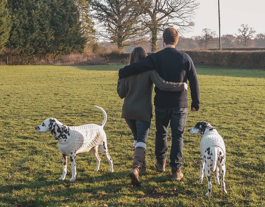 Emma from @mylittlecountrylife wears the Olive Fisherman Jumper, Chris wears the Navy Picton crew and their beautiful Dalmatians Shiva and Bunter wear matching Aran Dog Jumpers.