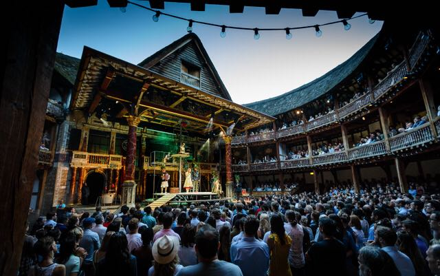 Performing at Shakespeare's Globe, London with Kneehigh Theatre