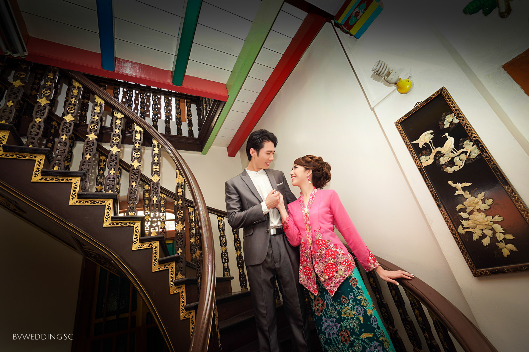 Singapore Peranakan Style Pre-wedding Photoshoot at Indian Heritage Center