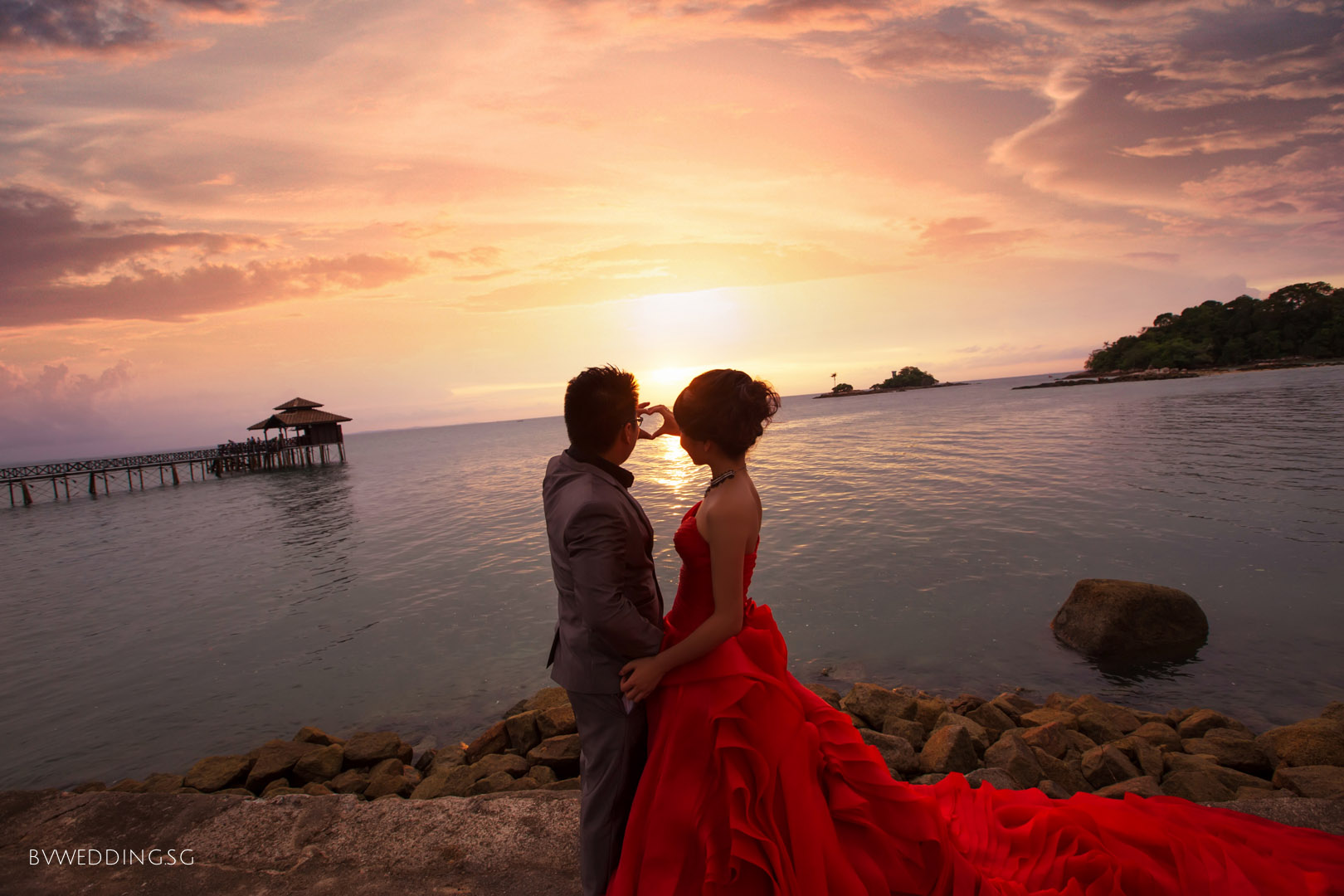 Pre-wedding photoshoot at bintan island with sunset