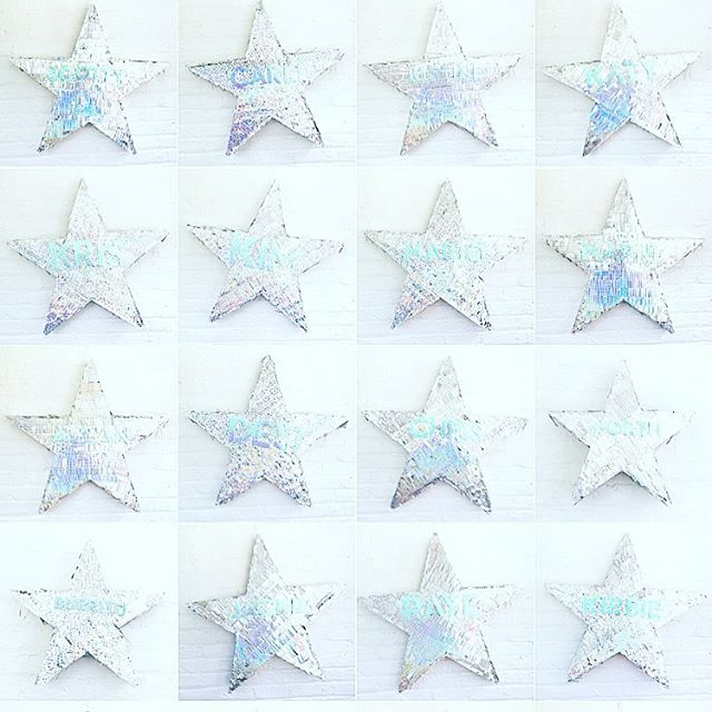 That time I made 24 hologram ⭐️ piñatas for @bliss . . #tinygala #bliss #blissholoween #hologram #pinata #handmade #sobestfriendsforfrosting #party #imsomartha #star