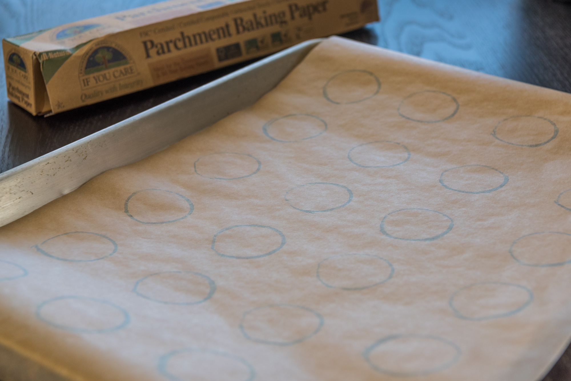 Template for piping the macaron batter