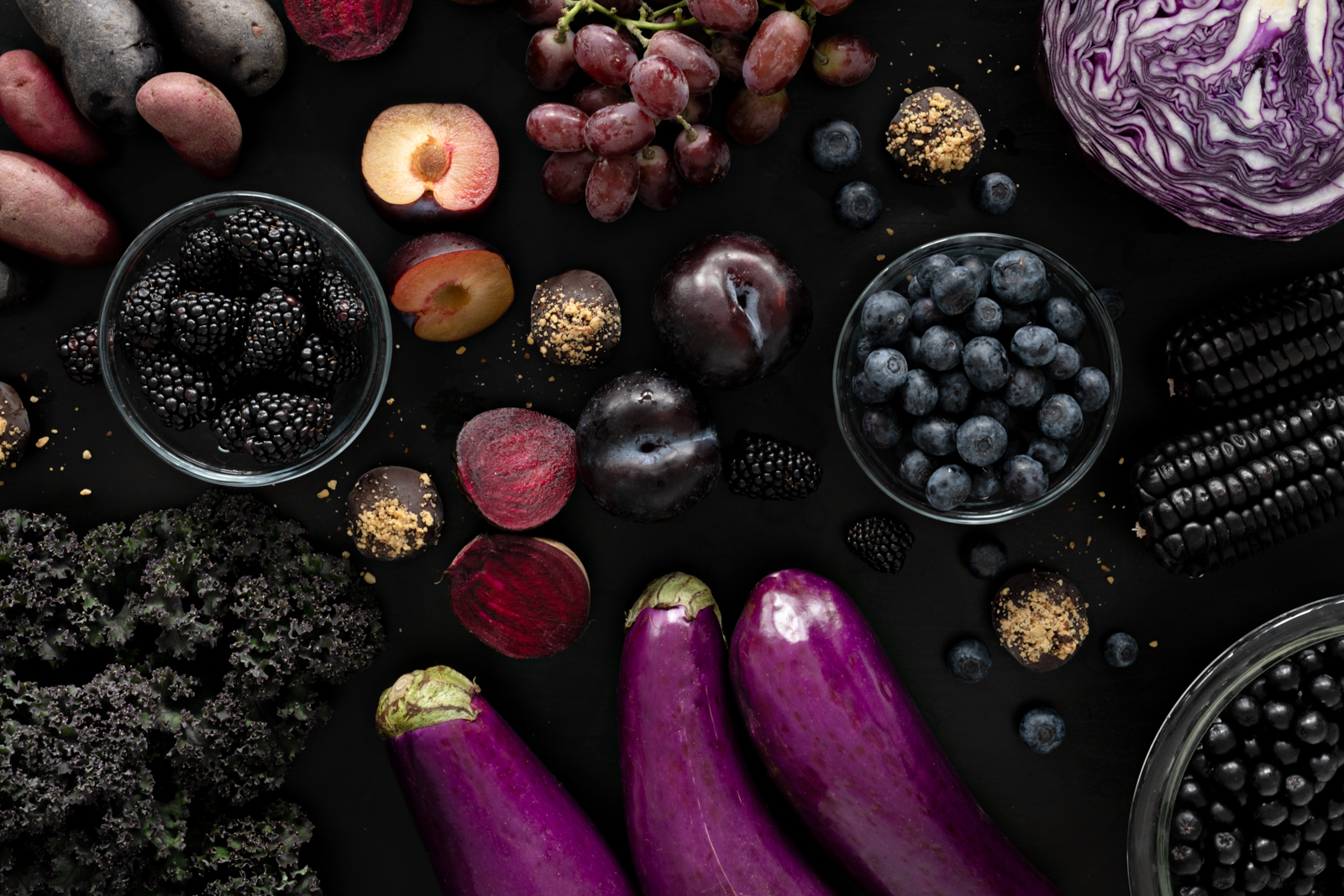 Purple Earth Truffles - Photography and styling by Lucy Hawthorne