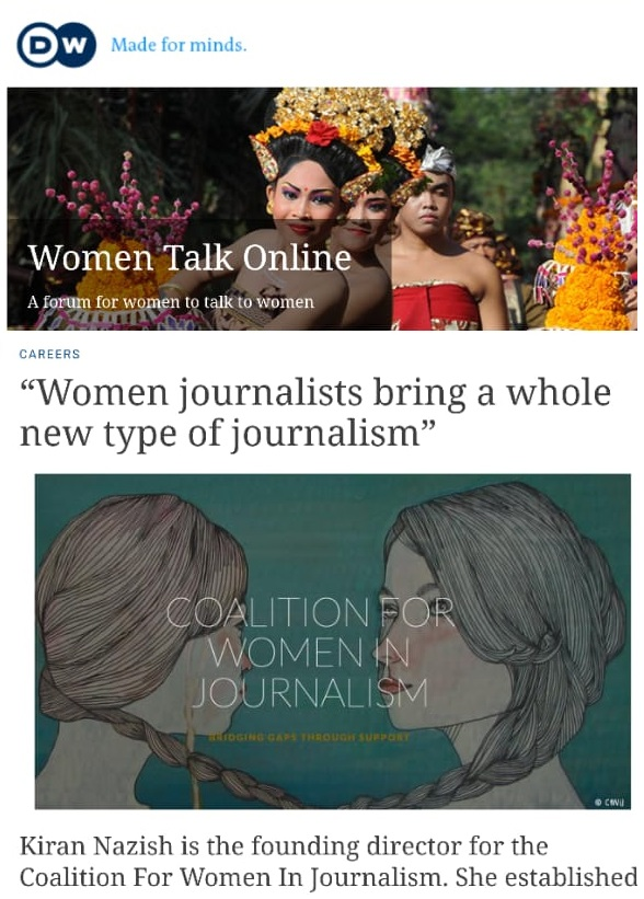 DW COVERS THE cOALITION FOR WOMEN IN JOURNALISM AND THE NEED FOR TO SUPPORT WOMEN JOURNALISTS.