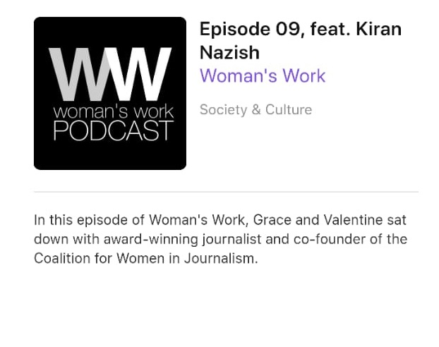 WOMAN'S WORK DISCUSSES THE COALITION'S WORK WITH KIRAN NAZISH.
