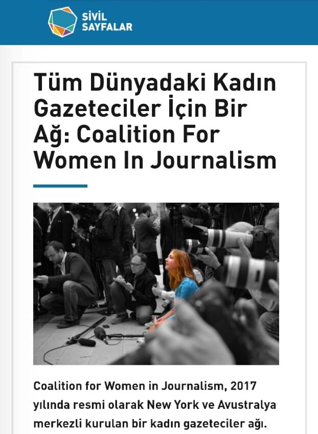 Our founding director, Kiran Nazish, was interviewed by Sivil Sayfalar — a Turkish online platform for civil society organizations. Kiran talked about the challenges faced by women journalists around globally and CFWIJ's to support them. She also talked about the mentorship and advocacy work being done by the organization across all its chapters. Read the full interview.