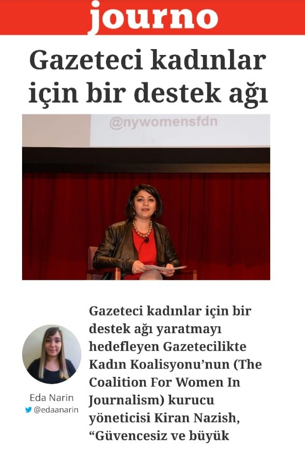 """The Coalition's work was the topic of discussion. """"The goal is to create a support network for women journalists around the world,"""" Founding Direction Kiran Nazish said in an interview to a turkey-based bipartisan media organization, Journo. Read the full interview."""