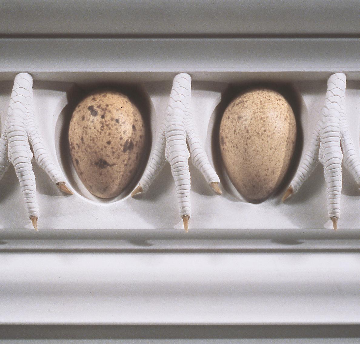 Spring Hurlbut    Ovo and Claw Entablature (Segment)    1990   plaster, turkey eggs, chicken claws   12 x 18 in.