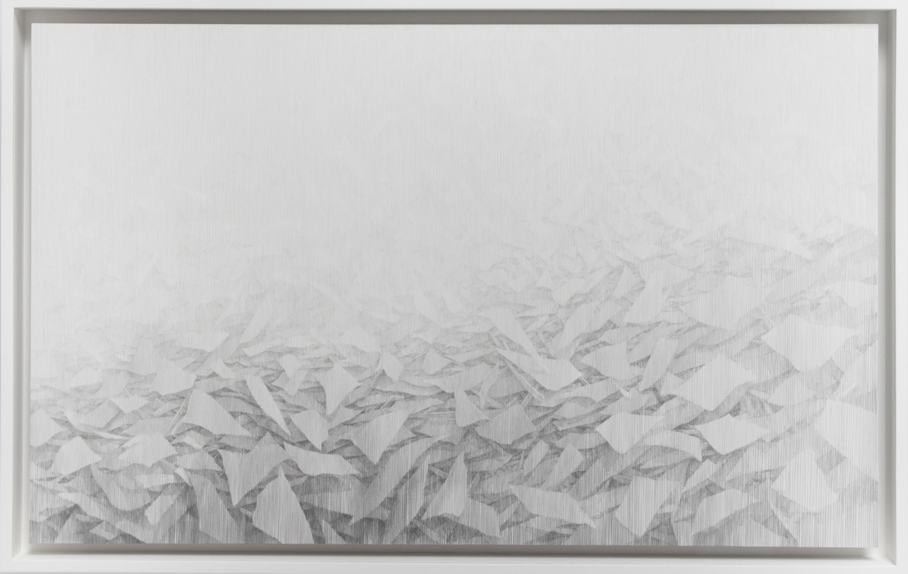 Longline,  2016, 17.75 x 27.75 inches framed, lead, paper on panel