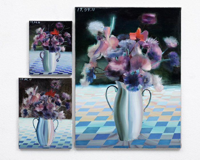 Aaron Weldon,  Flowers,  2011, 12 x 9.5 inches, 17 x 13 inches, 39 x 29.5 inches oil on linen