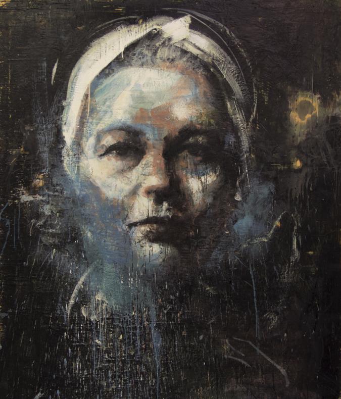 Tony Scherman, Simone de Beauvoir, series: Difficult Women , 2012-14, 84 x 72 inches, encaustic on canvas