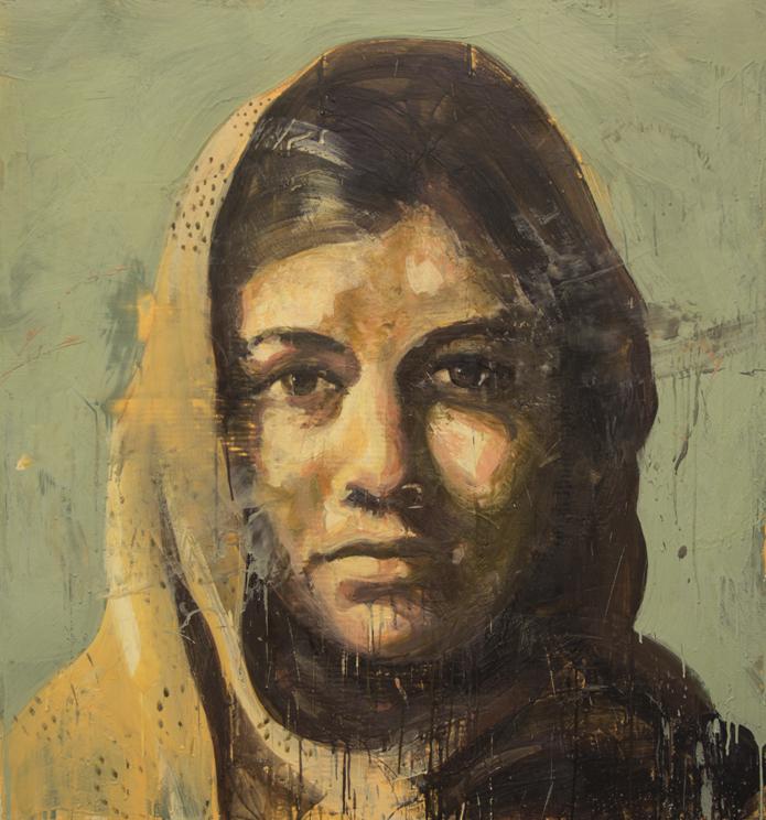 Tony Scherman, series: Difficult Women , Malala, 2014, 48 x 45 inches, encaustic on canvas