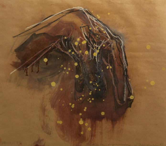 Tony Scherman, La Vendée , series: About 1789 , 1998-99, paper: 20.5 x 23 inches, frame: 31.5 x 32.75 inches, encaustic, oil, crayon, butcher's paper