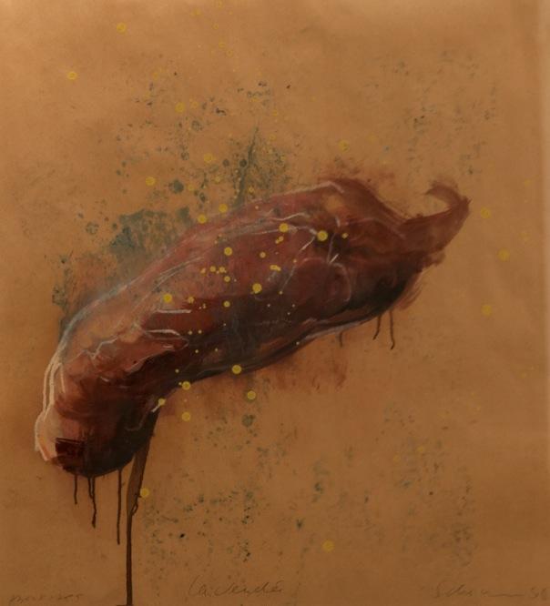 Tony Scherman, La Vendée, series: About 1789, 1998-99, paper: 26.25 x 23.75 inches, frame: 37 x 26 inches, encaustic, oil, crayon, butcher's paper