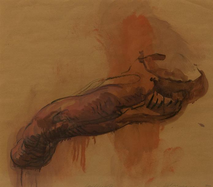 Tony Scherman, La Vendée , series: About 1789 , 1999, paper: 23 x 25 inches, frame: 32 x 34 inches, oil, crayon, butcher's paper