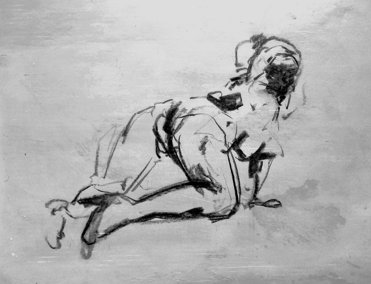 Tony Scherman, Nude Crawl , 2000/2015, 24 x 28 inches, encaustic monoprint