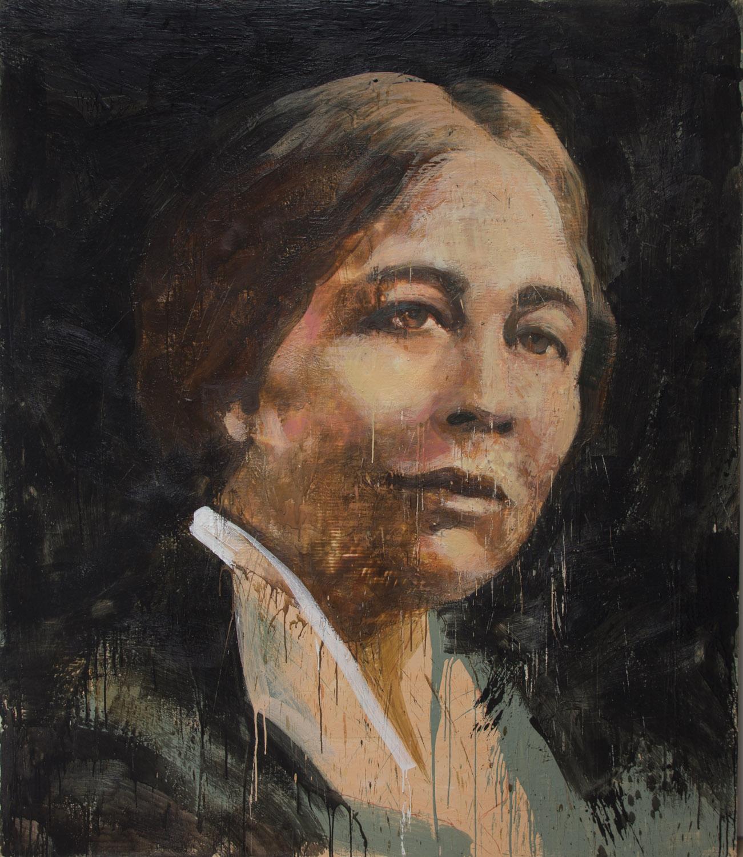 Sylvia Pankhurst, 2012-14, encaustic on canvas, 84 x 72 inches