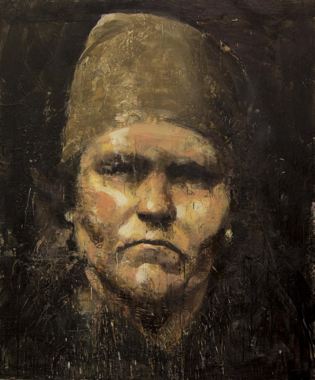 Bread Thief, 2012-14, encaustic on canvas, 72 x 60 inches