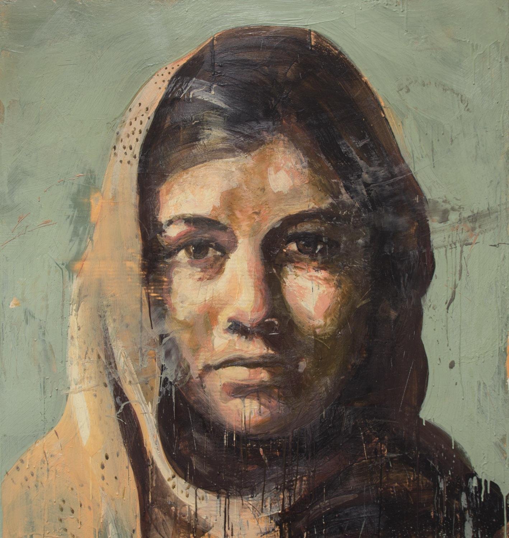 Malala, 2014, encaustic on canvas, 48 x 45 inches
