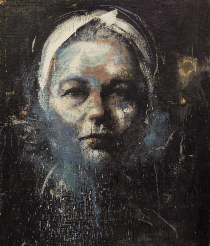 Simone de Beauvoir, 2012-14, encaustic on canvas, 84 x 72 inches