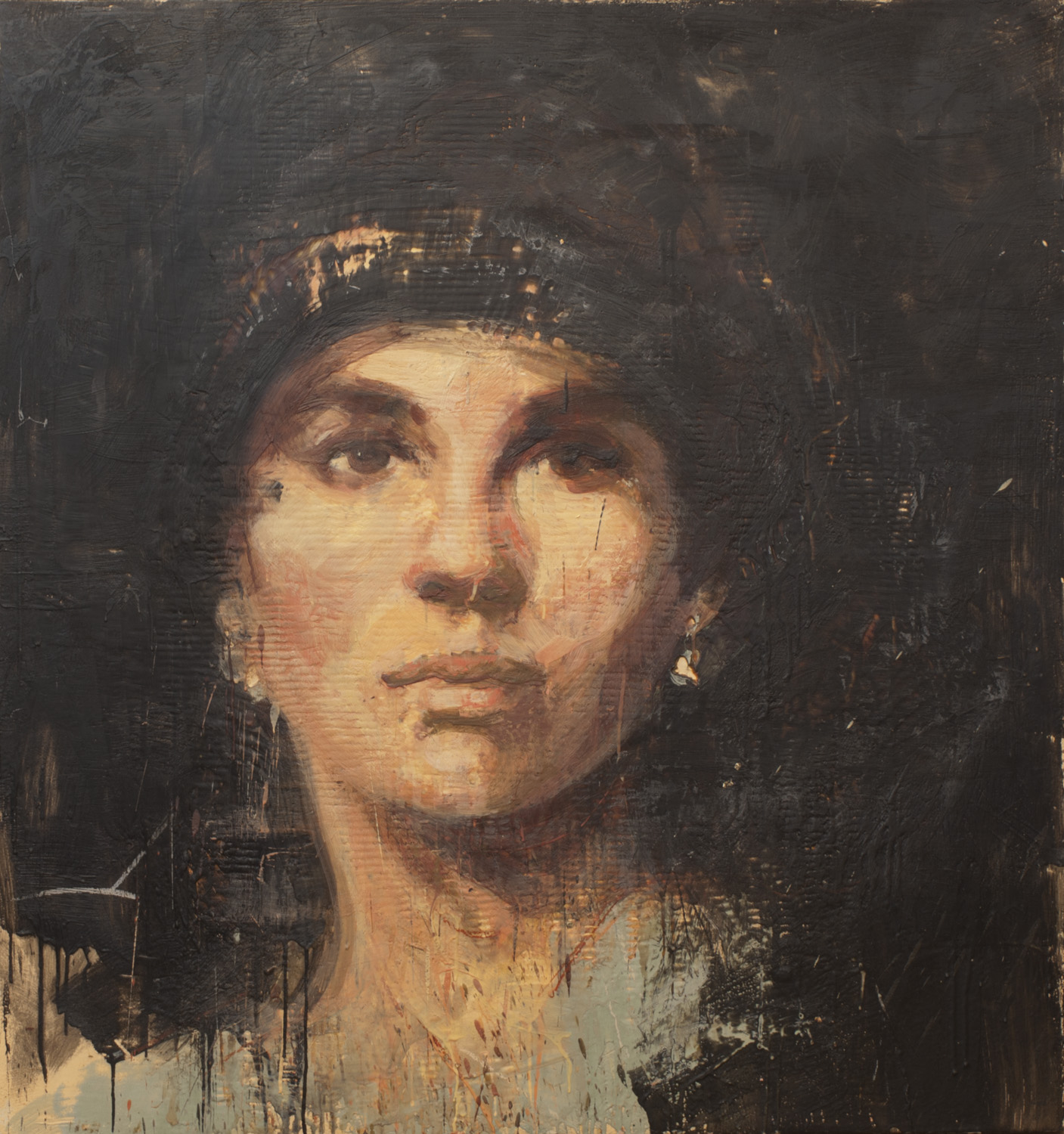 An Unnamed Suffragette, 2014, encaustic on canvas, 48x 45 inches