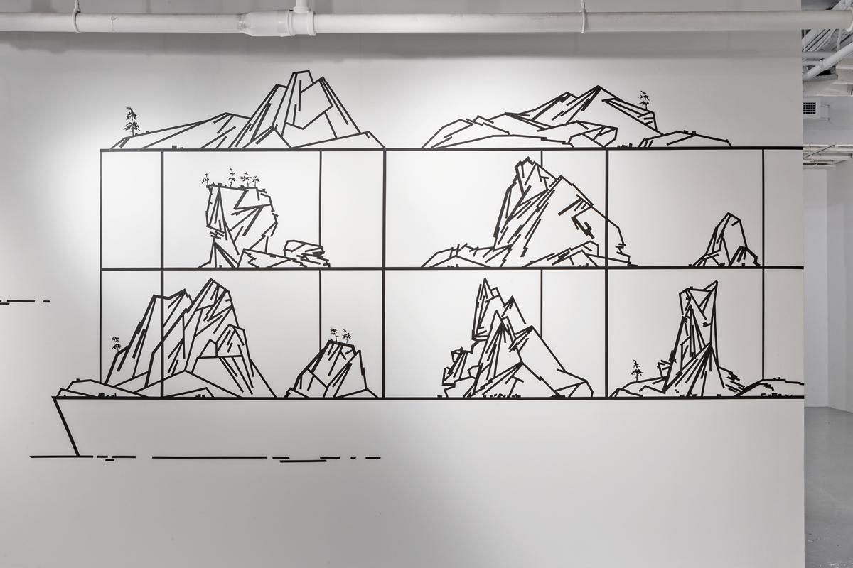 Condominium #1,  2014, tape on wall, dimensions variable, (Photo by: Toni Hafkensheid)
