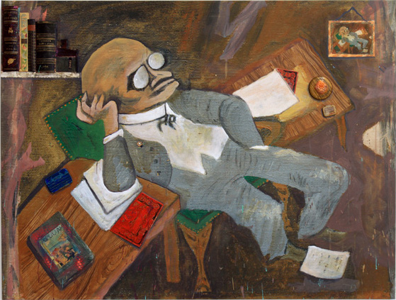 Freudian Nap, 2014, 41 x 54 inches, acrylic, embellishments and vintage book covers on canvas with printed background