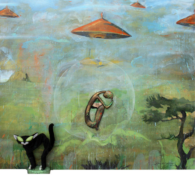 Chinese Saucers, 2014, 54 x 62.5 inches, acrylic, embellishments and assemblage on canvas with printed background