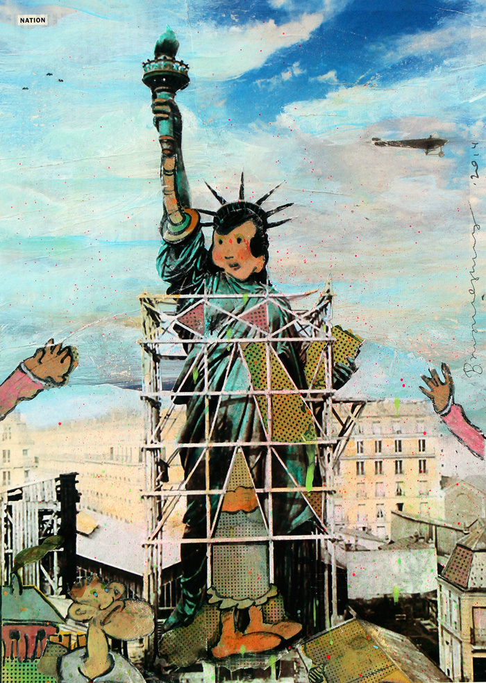 Building Lady Liberty,  2014, 12.5 x 8.5 inches, paper collage on museum board
