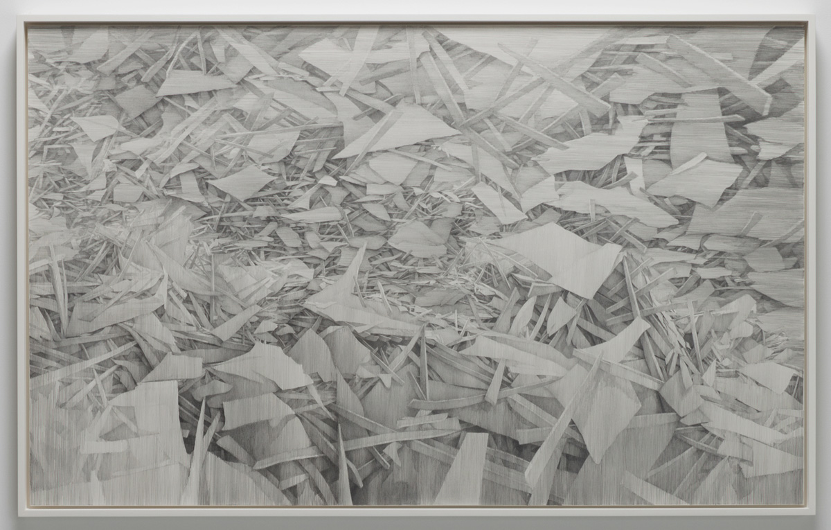 "Leaden , 2014, 34"" x 55"", lead, paper on panel, framed: 35.5 x 56.5"