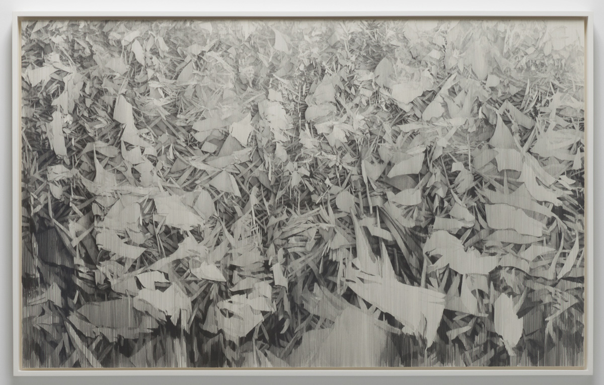 "In Irons , 2013, 34"" x 55"", lead, paper on panel framed: 35.5 x 56.5"