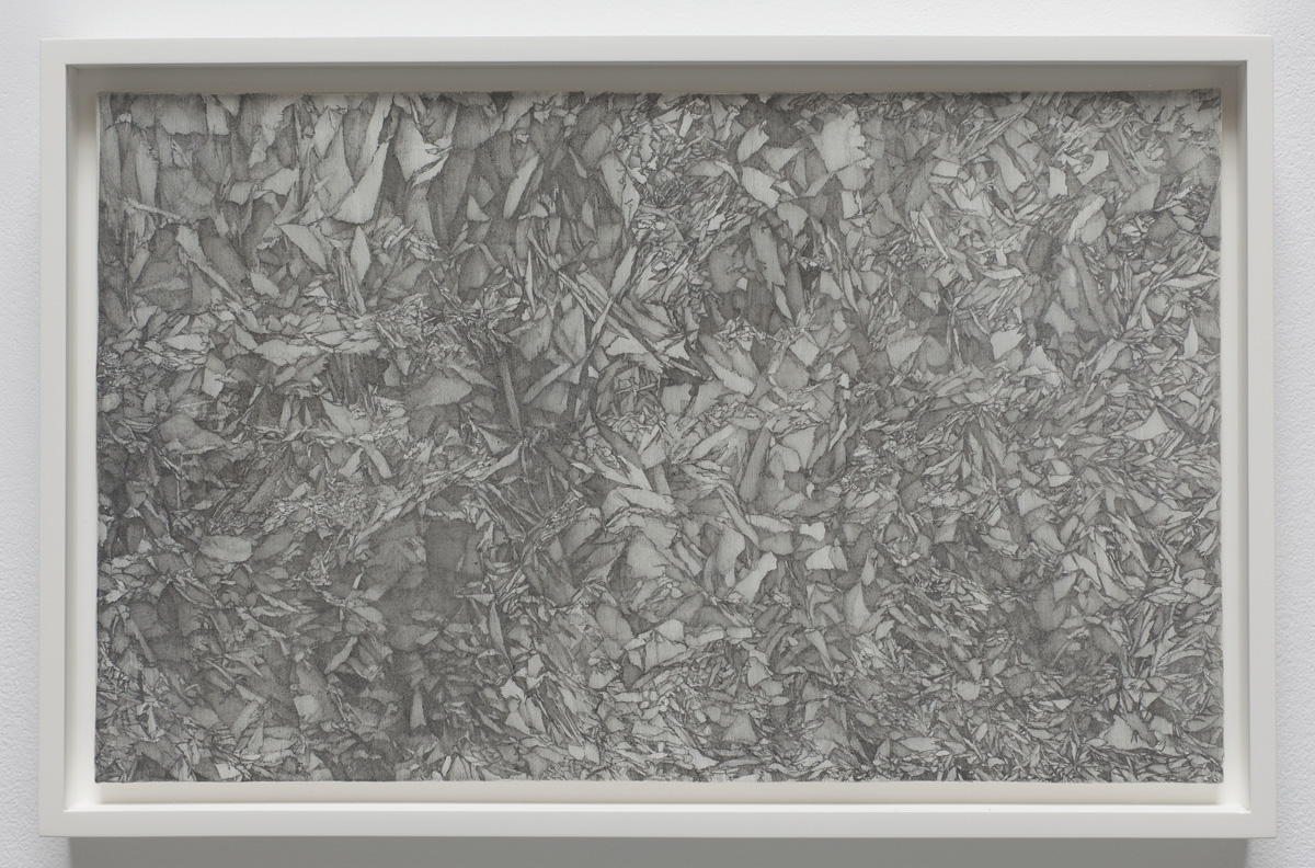 "Igneous , 2011, 8"" x 13"", lead, marble gesso, paper on panel, framed: 9.25 x 14.25"
