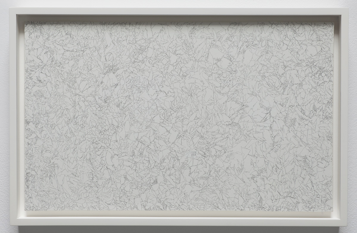 "Ignis , 2011, 8"" x 13"", lead, marble gesso, paper on panel framed: 9.25 x 14.25"