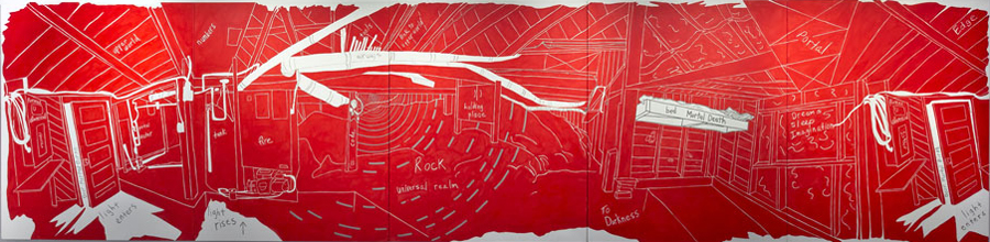 Red. 3011 Jackson (Mortality) , 2013, 6 x 25 feet (5 panels), acrylic on canvas