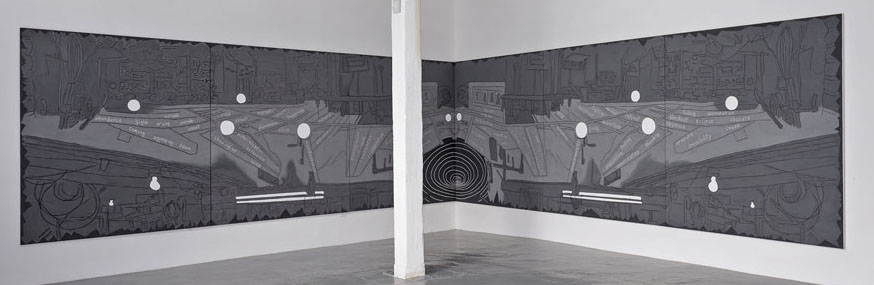 Grey. 224 Main. (Transformation) , 2013, 6 x 33 feet (6 panels), acrylic on canvas
