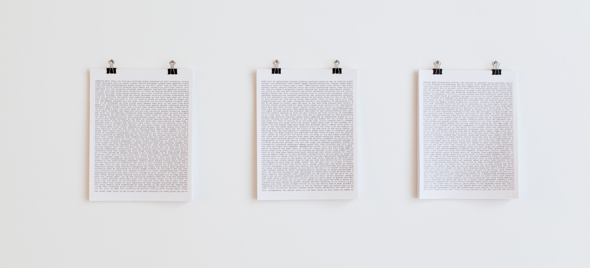 Trial III (three - eight), 2012-2013, 11 x 8.5 x 0.25 inches, paper and ink (37 pages), singular multiple