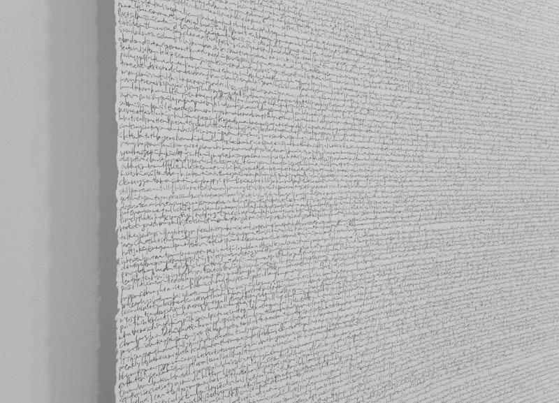 "Trial II, 2012, 4'2.5"" x 39 feet, graphite pencil on Stonehenge paper roll, unique"
