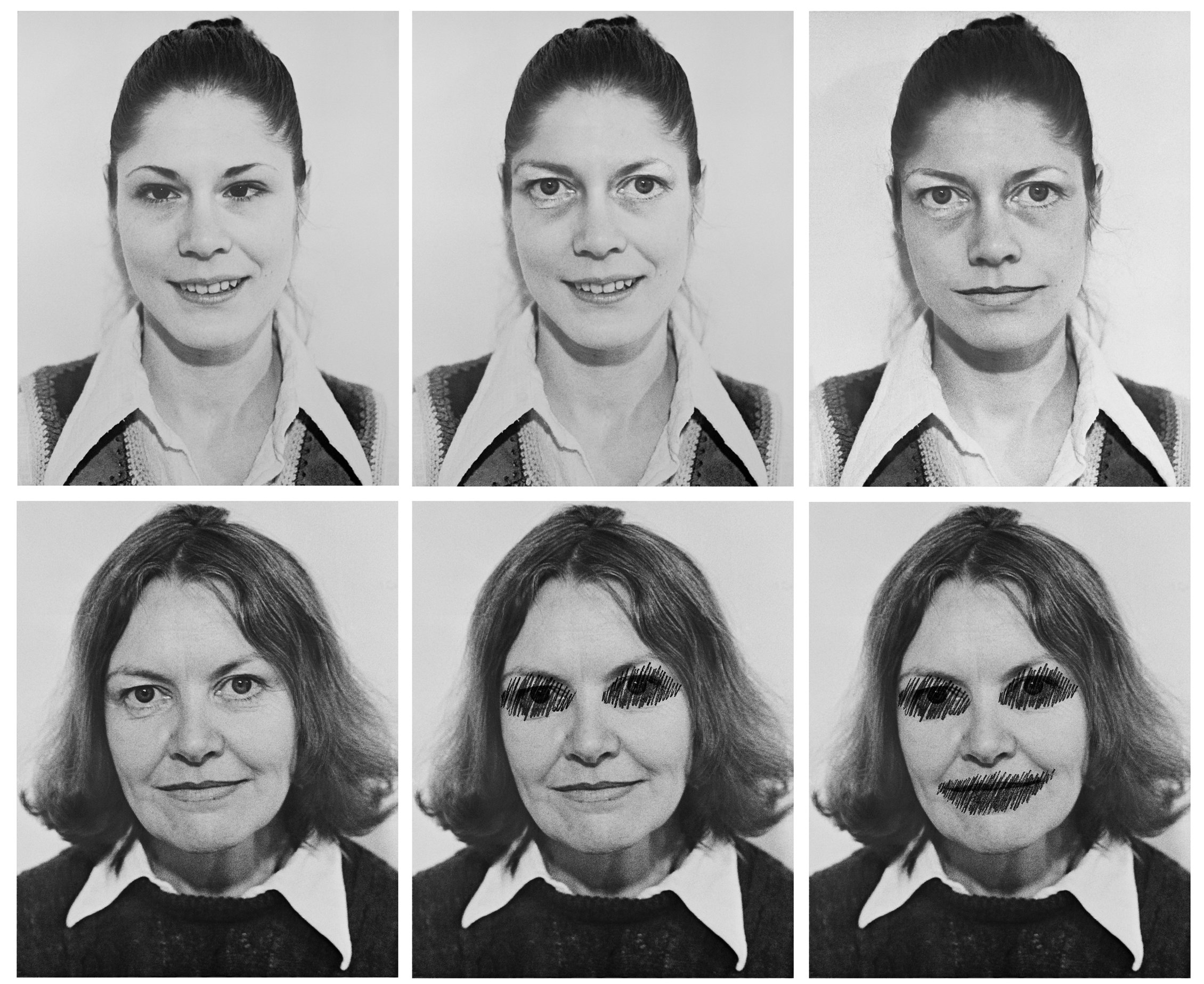 Suzy Lake as Françoise Sullivan, 1975/2012, grid sequence of 6 works, approx. 72 x 87.25 inches, digital prints